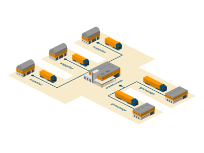 Groupage transporting logistics 2.5d vector template illustration isometric