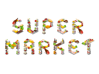 supermarket icons icons 2.5d vector template illustration isometric