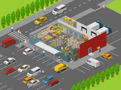 Supermarket Inside free 2.5d template illustration isometric
