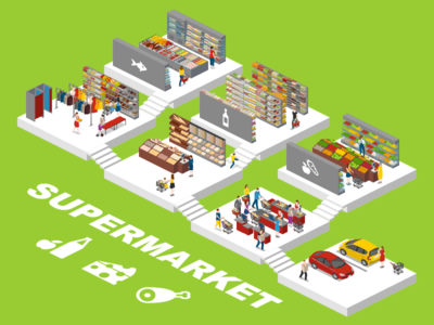Supermarket 2.5d vector template illustration isometric