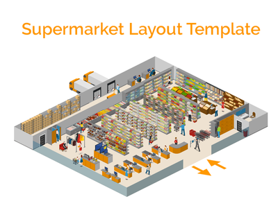 supermarket layout supermarket vector 2.5d template illustration isometric
