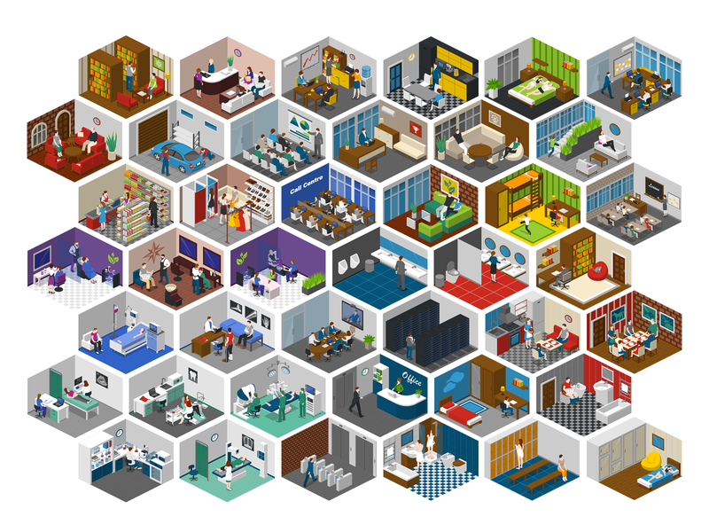isometric rooms vector 2.5d template illustration isometric