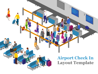 Airport Check In free 2.5d vector template illustration isometric