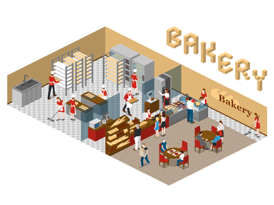 Bakery 2.5d vector template illustration isometric