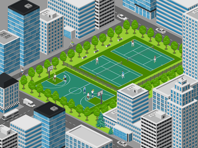 City Sport Courts courts basketball tennis city sport 2.5d vector template illustration isometric