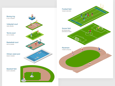 Sports arenas size comparison racing soccer football baseball swimming basketball tennis boxing stadium sports free 2.5d vector template illustration isometric
