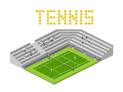 Tennis tennis 2.5d vector template illustration isometric