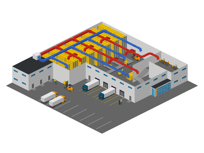 ducting system warehouse hvac free 2.5d vector template illustration isometric
