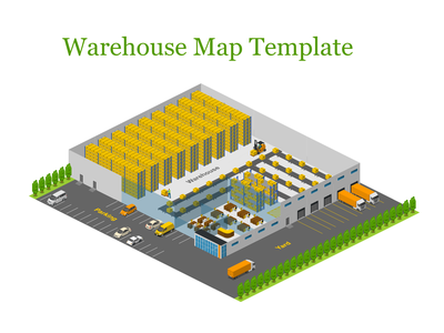 Warehouse Map Template layout map warehouse 2.5d vector template illustration isometric