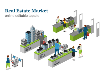 Real Estate Market template supermarket market real estate realestate free 2.5d vector template illustration isometric