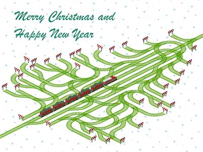 Merry Christmas Railroad Card christmas tree christmas card christmas logistics vector template illustration isometric