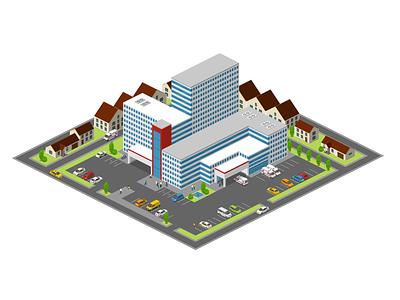 City Hospital hospital healthcare templates free 2.5d vector template illustration isometric