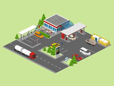 Filling Station petrol charging station gas station gasoline 2.5d vector template illustration isometric