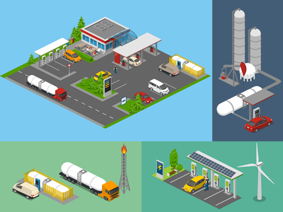 Gasoline vs Electricity charging station gas station petrol gasoline 2.5d vector template illustration isometric