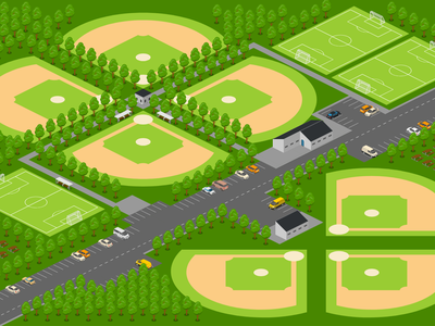Wagon Wheel Baseball Field arena baseball sport vector free 2.5d template illustration isometric