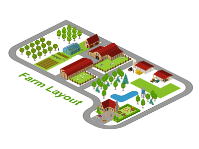 Farm Layout farming map layout farm 2.5d vector template illustration isometric