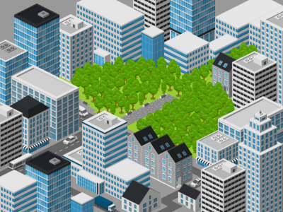 City Lungs ecology free city vector 2.5d illustration isometric
