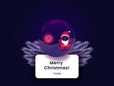 A Gift To The New Year (1 invite) dribbble player merry christmas planet invitation illustration dribbble invite giveaway invite giveaway invite dribbble