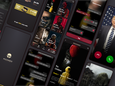 Mooned Horror Chat Stories android ios ux ui typografi interace design chat app art director dark app horror