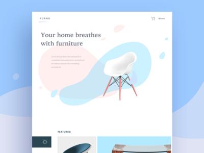Furno ecommerce design furniture desktop white bright ui flat fireart studio fireart