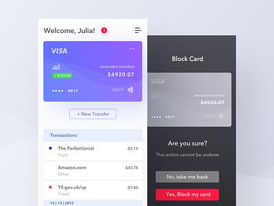 Bank App fireart fireart studio card app white purple bright ui ux bank list dark