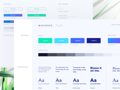 Style Guide Mafision design ux ui green blue view desktop branding web typography color styleguide