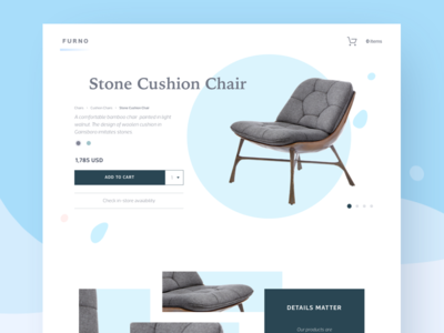 Furno product page design furniture desktop white bright ecommerce ui flat product shop