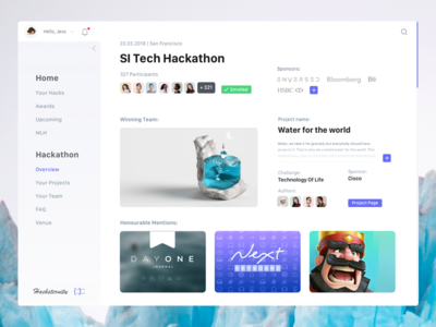 Platform for Hackathons flat design ux ui clean purple white desktop dashboard