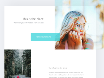 This is the place ux ui blue summer travel photos simple web desktop white