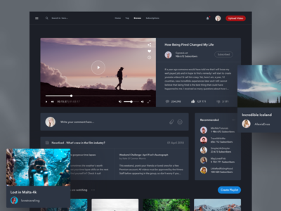 Video Streaming people feed photos vide flat design ux ui clean dark desktop dashboard