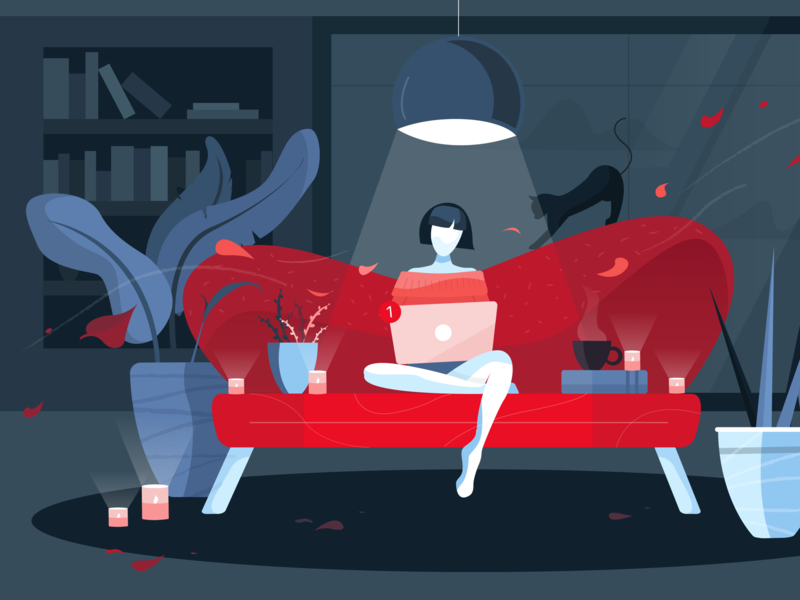 Autumn remote work laptop leaves window work autumn wind lamp books plants computer girl red dark character cat design flat illustration