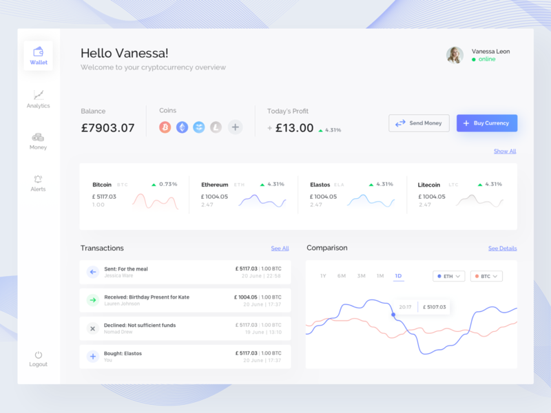Numise Dashboard bright ux dashboard purple white flat blockchain cryptocurrency crypto ui  ux ui modern blue app design desktop