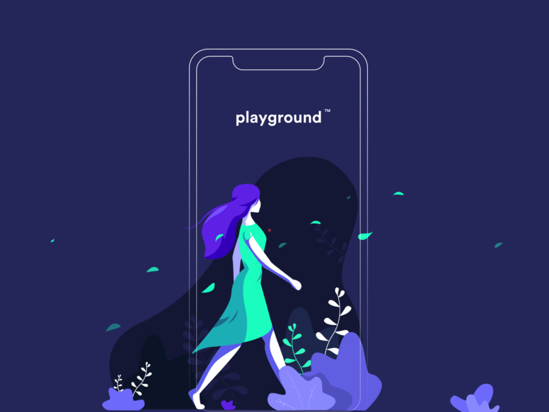 Playground illustration flat walking walk nature hair 10clouds uid app green mint purple plants wind girl illustation