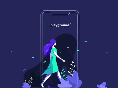 Playground illustration flat walking walk nature hair 10clouds uid app green mint purple plants wind girl illustation