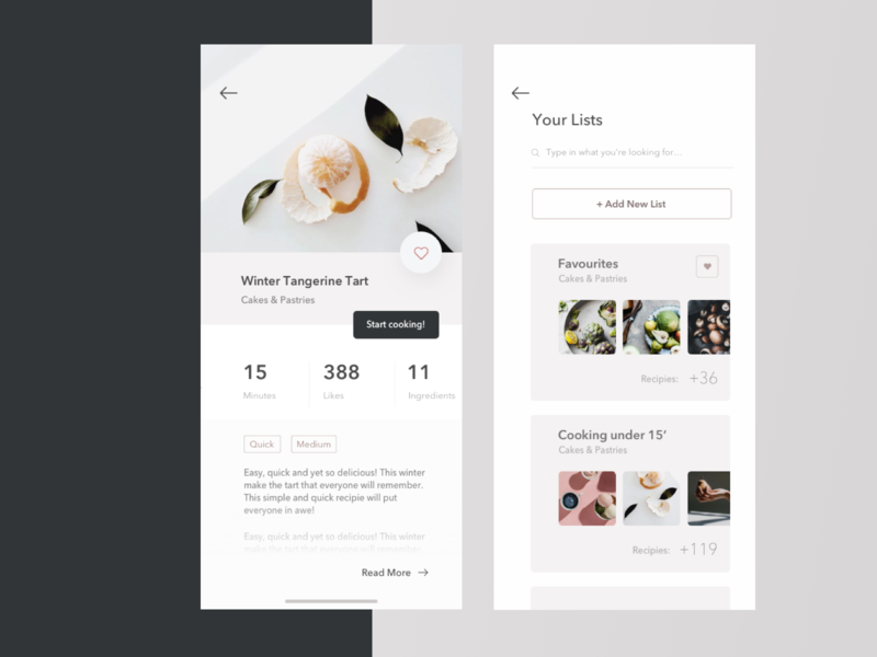 Food App Concept vector desktop white favourite lists design social cooking food minimalistic minimal flat app ux ui 10clouds