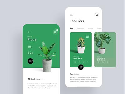 Plant Shop swipe cards 10clouds shop plants plant green app flat bright ux white ui