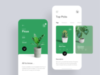 Plant Shop swipe cards 10clouds shop plants plant green app flat bright ux white ui