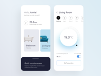 Smart Home App flat settings blue julia jakubiak 10clouds cards cold temperature design ux ui clean white app home smart