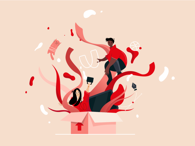 Hello from RVU team! branding vector flat ribbon box dribbble cat boy girl people design red rvu desktop debut illustration