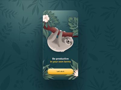 Cute Sloth dream breath sleep lazy cute app mobile tree jungle animal forest task lifestyle habit onboarding illustration sloth animation ui