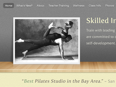 Web Design for a Pilates Studio web website joomla pilates yoga studio wood texture web design photo sports