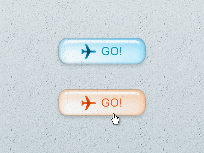 Glassy Button for Travel Website button ui glass plane travel go