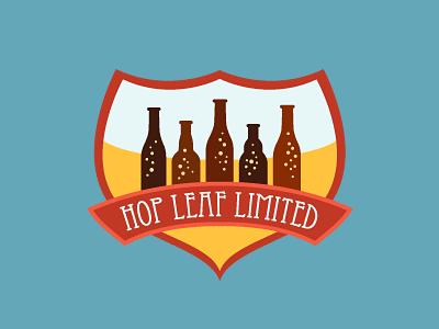 Logo for Hop Leaf (Craft Beer Importer) beer logo bottle hop leaf badge retro branding brewery design