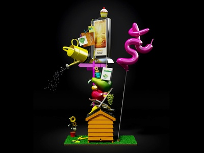 National Friendly 3d modelling graphic design 3ds max illustration 3d