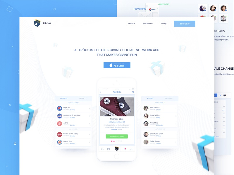 Gift Giving Project Landing Page ui minimalistic product page landing page clean startup promo user interface gift web app zajno ios app