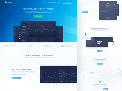 Website Homepage for Multi Profile Bitcoin Desktop App multibit desktop app statistic promo elements cryptocurrency startup product ui ux