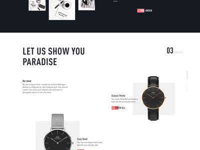 Homepage Design for E-Commerce Website oneunite elegant store clean ecommence watch product black and white ux ui web design minimal