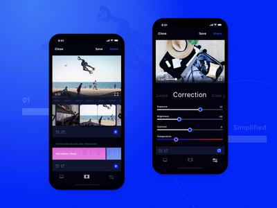 Video Editing Mobile Application Design tool ios zajno ui ux interface iphone x editor video design app mobile