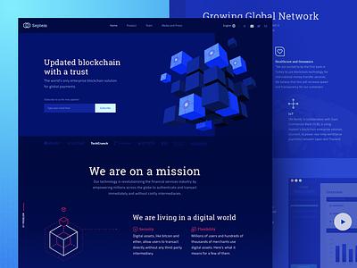 New Blockchain Technology Website Design visuals 3d landing zajno ux ui decentralized solution cube technology futuristic lockchain