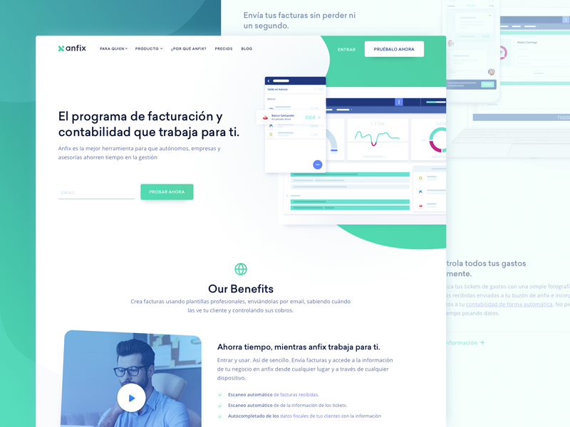 Homepage Design for Invoicing SaaS Company clean business website product bookkeeping accounting whitespace zajno ux ui anfix